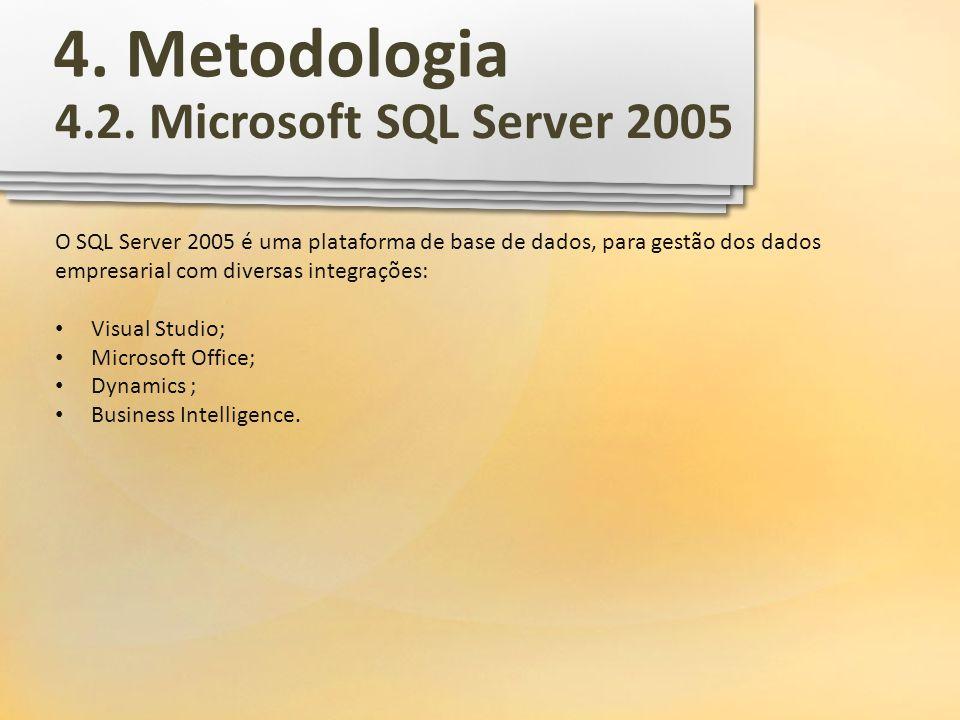 4. Metodologia 4.2. Microsoft SQL Server 2005 O SQL Server 2005 é uma plataforma de base de dados, para gestão dos dados empresarial com diversas inte