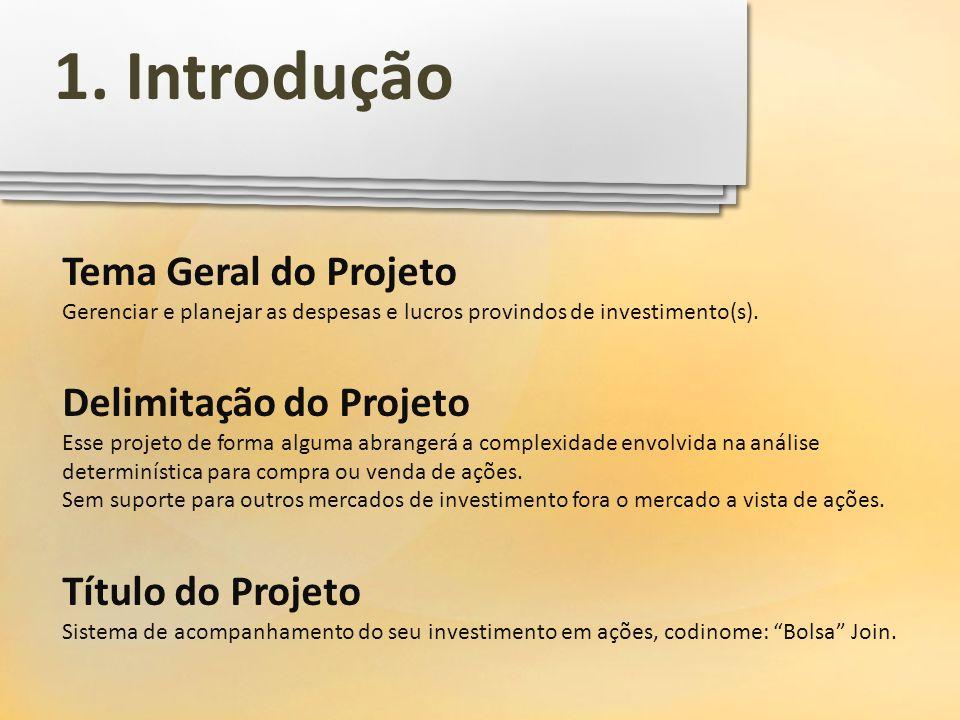 Tema Geral do Projeto Gerenciar e planejar as despesas e lucros provindos de investimento(s). Delimitação do Projeto Esse projeto de forma alguma abra