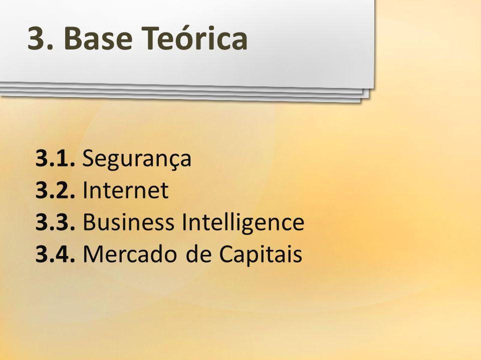 3.1. Segurança 3.2. Internet 3.3. Business Intelligence 3.4. Mercado de Capitais 3. Base Teórica