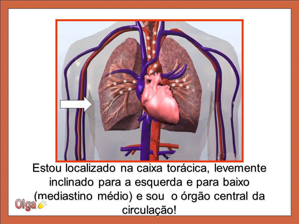 Estou localizado na caixa torácica, levemente inclinado para a esquerda e para baixo (mediastino médio) e sou o órgão central da circulação!.