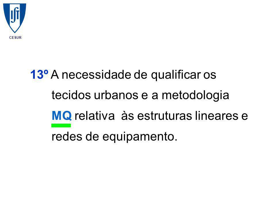 CESUR 13º A necessidade de qualificar os tecidos urbanos e a metodologia MQ relativa às estruturas lineares e redes de equipamento.