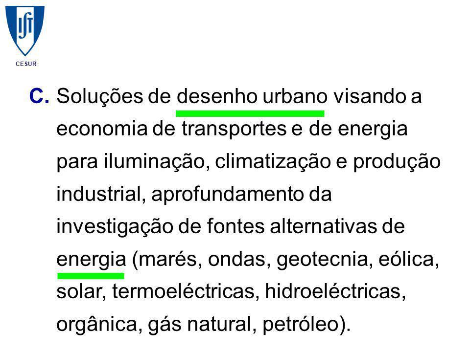 CESUR C.Soluções de desenho urbano visando a economia de transportes e de energia para iluminação, climatização e produção industrial, aprofundamento da investigação de fontes alternativas de energia (marés, ondas, geotecnia, eólica, solar, termoeléctricas, hidroeléctricas, orgânica, gás natural, petróleo).