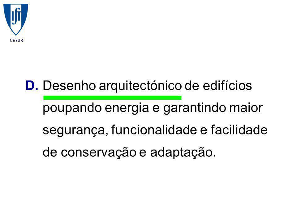 CESUR D.Desenho arquitectónico de edifícios poupando energia e garantindo maior segurança, funcionalidade e facilidade de conservação e adaptação.