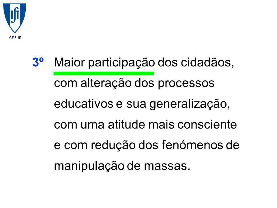 CESUR 3ºMaior participação dos cidadãos, com alteração dos processos educativos e sua generalização, com uma atitude mais consciente e com redução dos fenómenos de manipulação de massas.