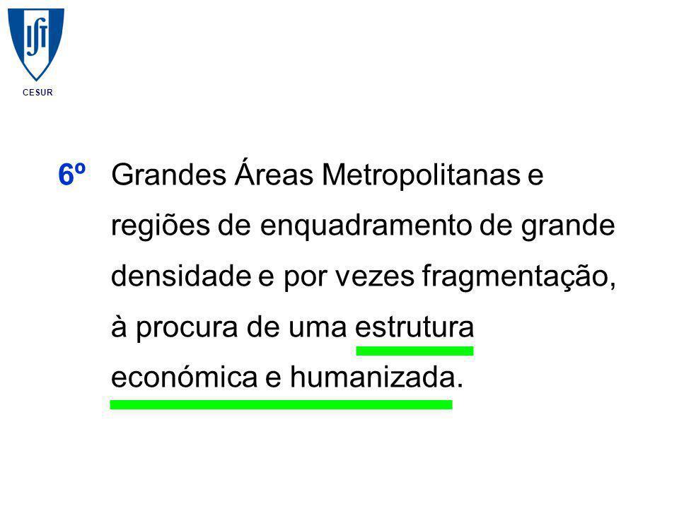 CESUR 6ºGrandes Áreas Metropolitanas e regiões de enquadramento de grande densidade e por vezes fragmentação, à procura de uma estrutura económica e humanizada.