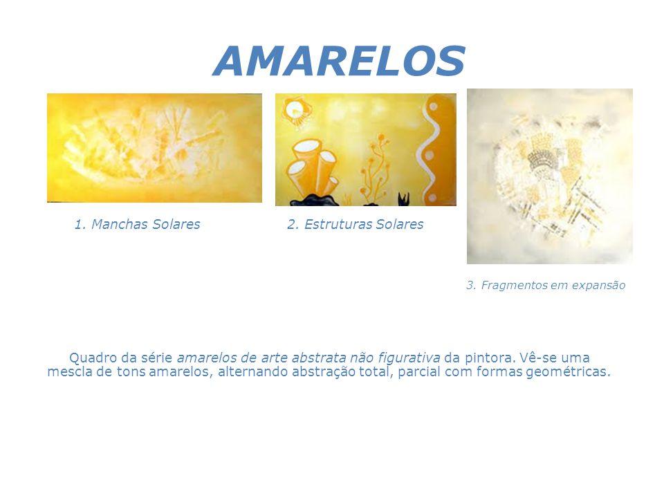 AMARELOS Quadro da série amarelos de arte abstrata não figurativa da pintora. Vê-se uma mescla de tons amarelos, alternando abstração total, parcial c