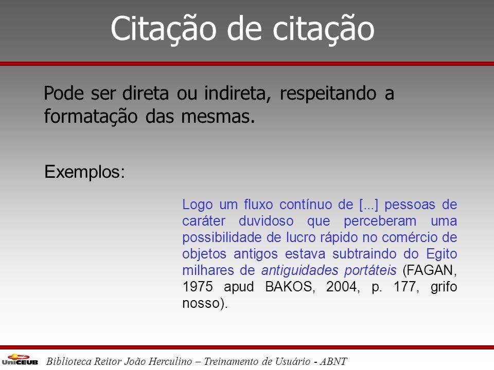Biblioteca Reitor João Herculino – Treinamento de Usuário - ABNT Citação indireta Incluída no texto, sem aspas. Número da página é opcional. Exemplo: