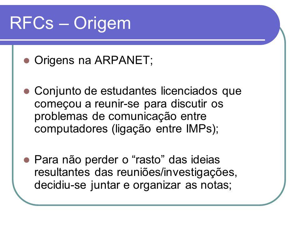RFCs – Origem  Origens na ARPANET;  Conjunto de estudantes licenciados que começou a reunir-se para discutir os problemas de comunicação entre compu