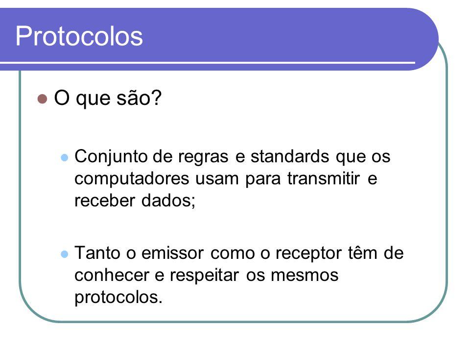 Protocolos  O que são?  Conjunto de regras e standards que os computadores usam para transmitir e receber dados;  Tanto o emissor como o receptor t
