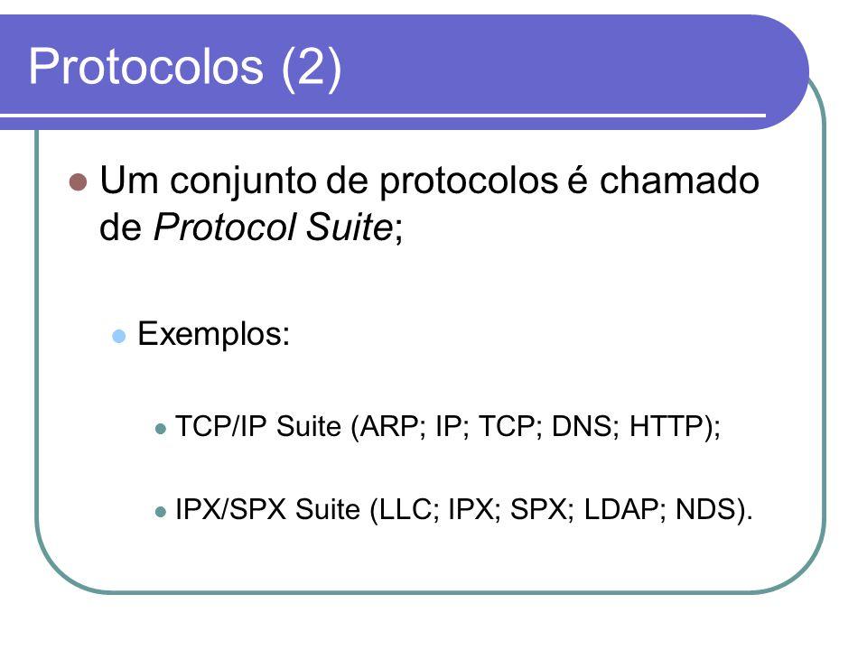 Protocolos (2)  Um conjunto de protocolos é chamado de Protocol Suite;  Exemplos:  TCP/IP Suite (ARP; IP; TCP; DNS; HTTP);  IPX/SPX Suite (LLC; IP