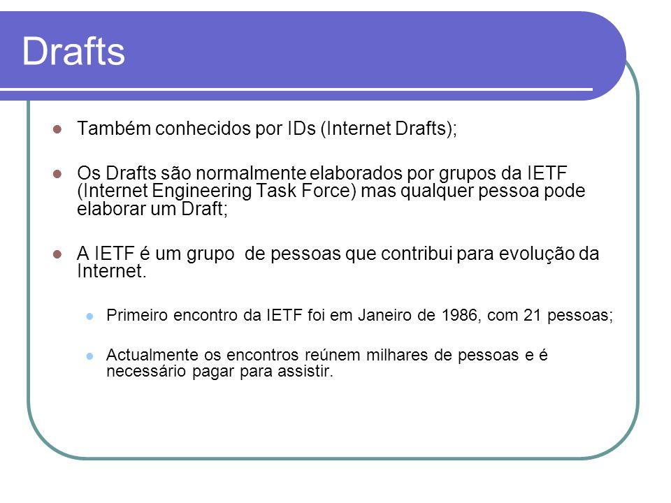 Drafts  Também conhecidos por IDs (Internet Drafts);  Os Drafts são normalmente elaborados por grupos da IETF (Internet Engineering Task Force) mas qualquer pessoa pode elaborar um Draft;  A IETF é um grupo de pessoas que contribui para evolução da Internet.