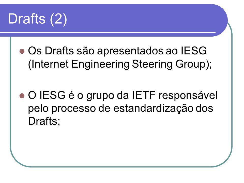Drafts (2)  Os Drafts são apresentados ao IESG (Internet Engineering Steering Group);  O IESG é o grupo da IETF responsável pelo processo de estandardização dos Drafts;
