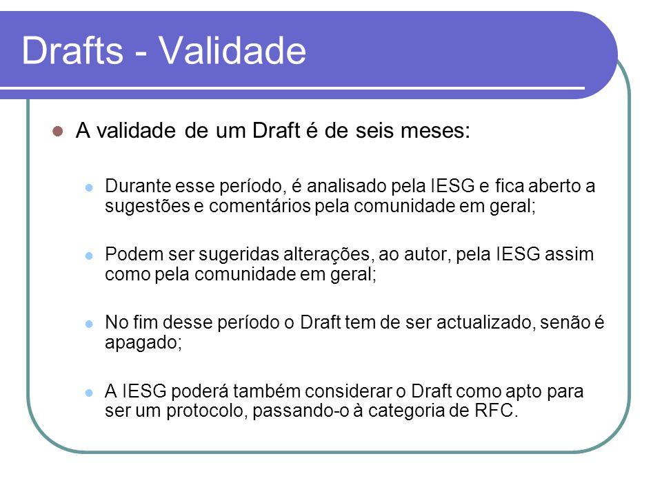 Drafts - Validade  A validade de um Draft é de seis meses:  Durante esse período, é analisado pela IESG e fica aberto a sugestões e comentários pela comunidade em geral;  Podem ser sugeridas alterações, ao autor, pela IESG assim como pela comunidade em geral;  No fim desse período o Draft tem de ser actualizado, senão é apagado;  A IESG poderá também considerar o Draft como apto para ser um protocolo, passando-o à categoria de RFC.