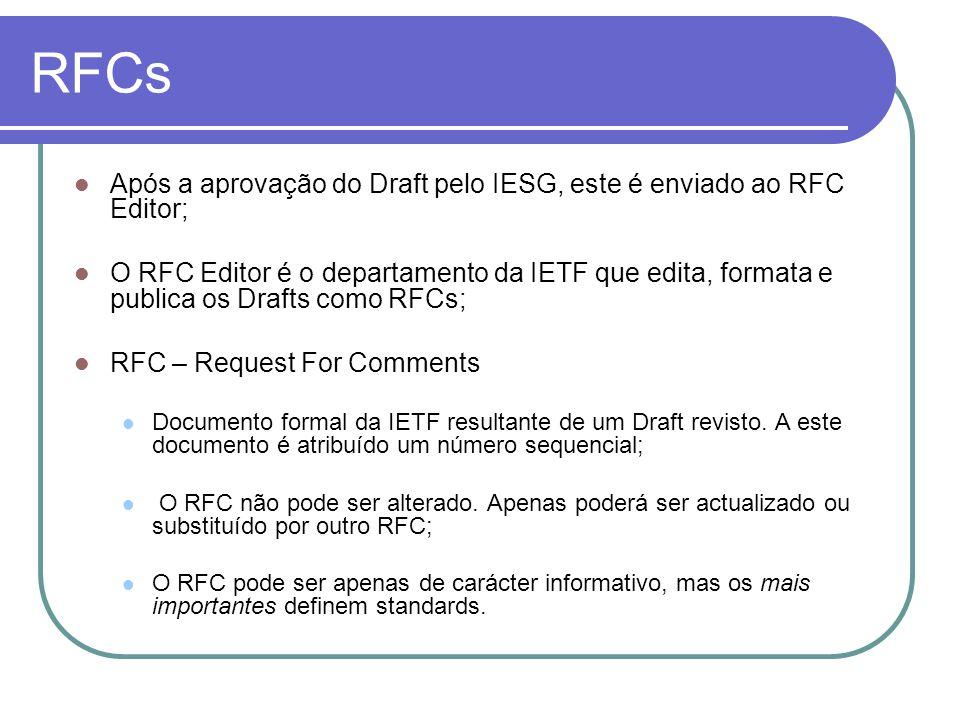 RFCs  Após a aprovação do Draft pelo IESG, este é enviado ao RFC Editor;  O RFC Editor é o departamento da IETF que edita, formata e publica os Drafts como RFCs;  RFC – Request For Comments  Documento formal da IETF resultante de um Draft revisto.