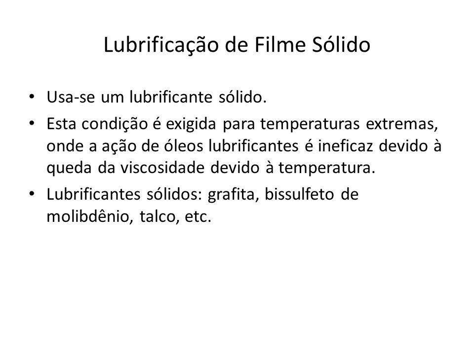 Lubrificação de Filme Sólido • Usa-se um lubrificante sólido. • Esta condição é exigida para temperaturas extremas, onde a ação de óleos lubrificantes