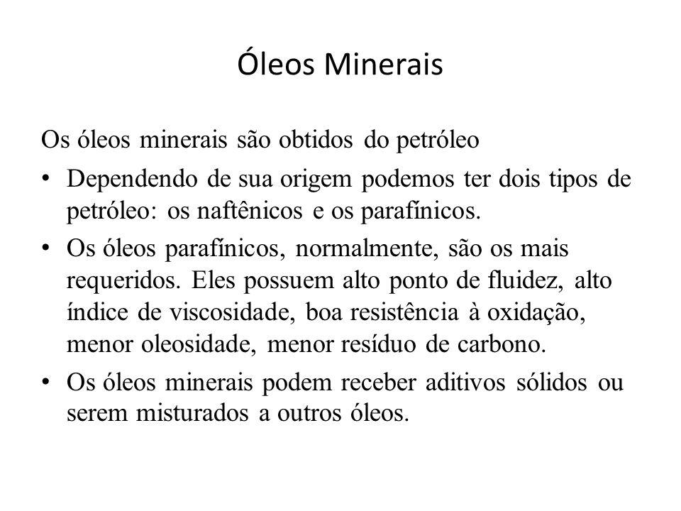 Óleos Minerais Os óleos minerais são obtidos do petróleo • Dependendo de sua origem podemos ter dois tipos de petróleo: os naftênicos e os parafínicos