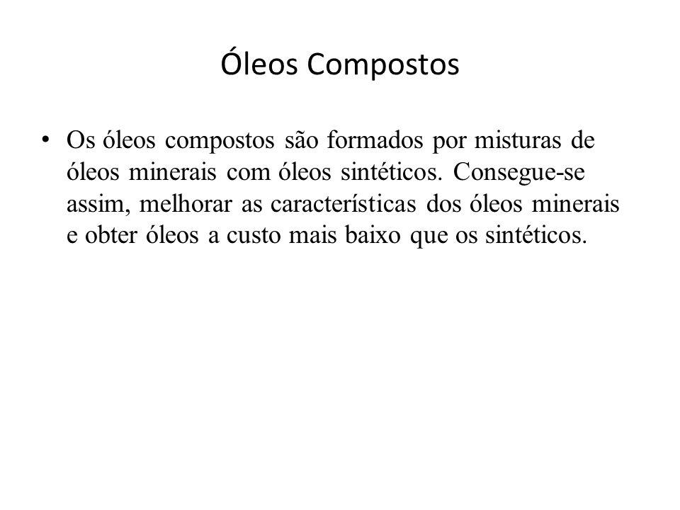 Óleos Compostos • Os óleos compostos são formados por misturas de óleos minerais com óleos sintéticos. Consegue-se assim, melhorar as características
