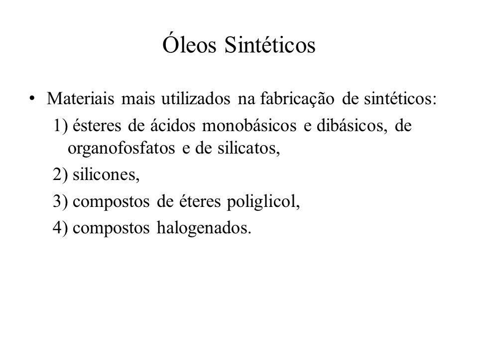 Óleos Sintéticos • Materiais mais utilizados na fabricação de sintéticos: 1) ésteres de ácidos monobásicos e dibásicos, de organofosfatos e de silicat