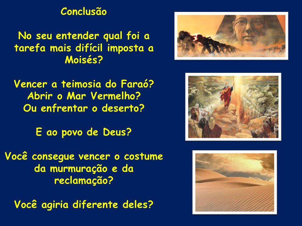 Conclusão No seu entender qual foi a tarefa mais difícil imposta a Moisés? Vencer a teimosia do Faraó? Abrir o Mar Vermelho? Ou enfrentar o deserto? E