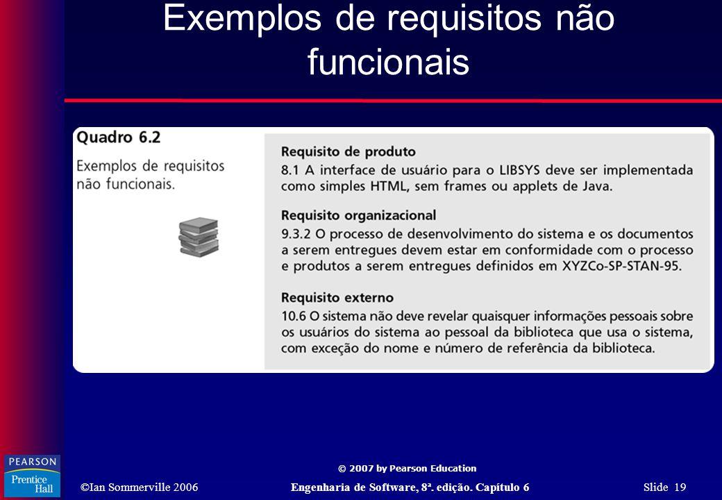©Ian Sommerville 2006Engenharia de Software, 8ª. edição. Capítulo 6 Slide 19 © 2007 by Pearson Education Exemplos de requisitos não funcionais