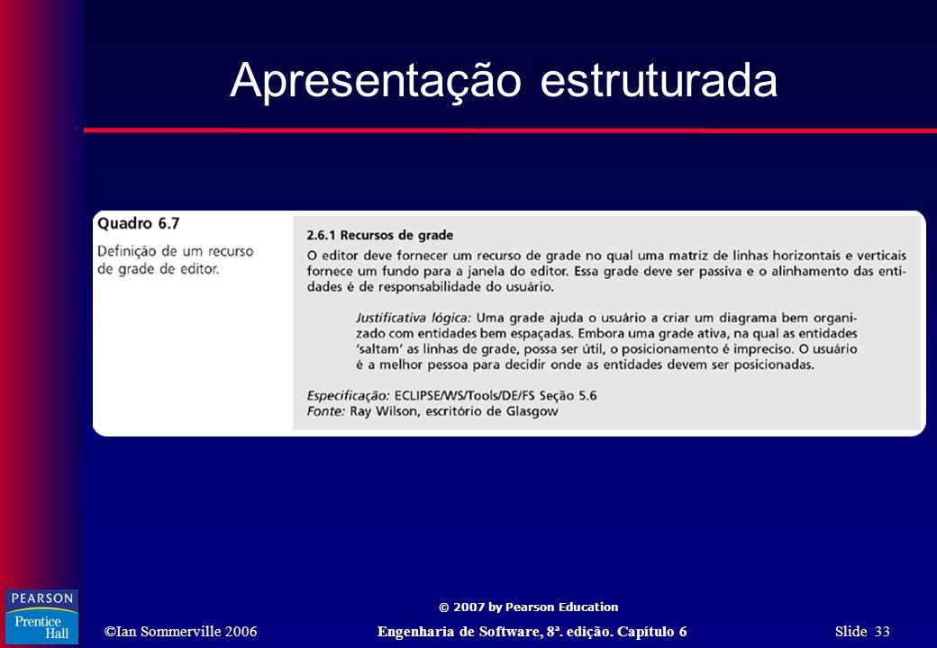©Ian Sommerville 2006Engenharia de Software, 8ª. edição. Capítulo 6 Slide 33 © 2007 by Pearson Education Apresentação estruturada
