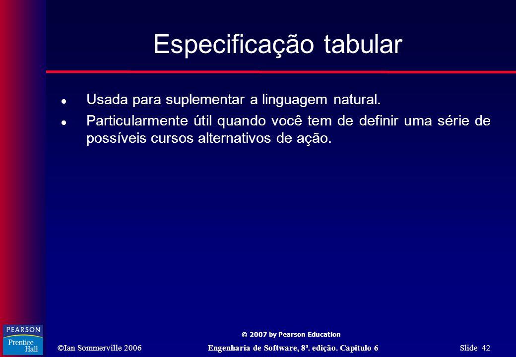 ©Ian Sommerville 2006Engenharia de Software, 8ª. edição. Capítulo 6 Slide 42 © 2007 by Pearson Education Especificação tabular  Usada para suplementa