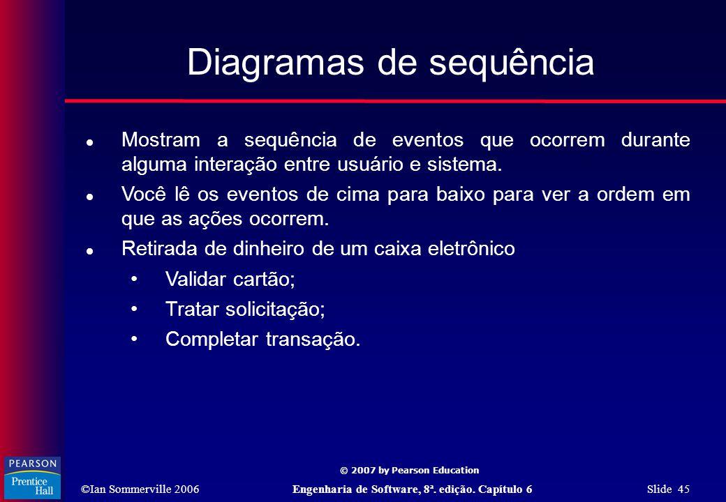 ©Ian Sommerville 2006Engenharia de Software, 8ª. edição. Capítulo 6 Slide 45 © 2007 by Pearson Education Diagramas de sequência  Mostram a sequência