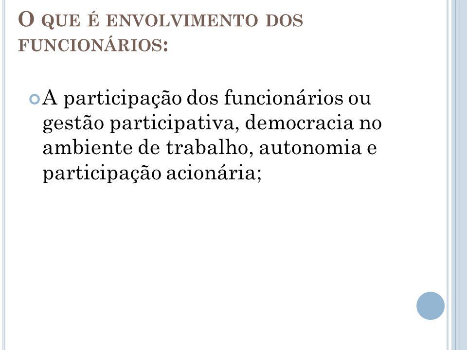 O QUE É ENVOLVIMENTO DOS FUNCIONÁRIOS : A participação dos funcionários ou gestão participativa, democracia no ambiente de trabalho, autonomia e participação acionária;