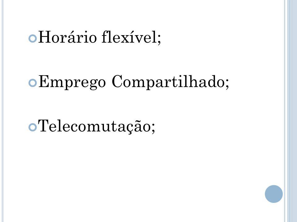 Horário flexível; Emprego Compartilhado; Telecomutação;
