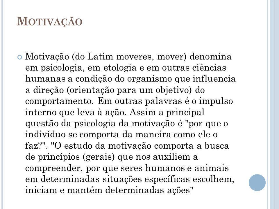 M OTIVAÇÃO Motivação (do Latim moveres, mover) denomina em psicologia, em etologia e em outras ciências humanas a condição do organismo que influencia a direção (orientação para um objetivo) do comportamento.