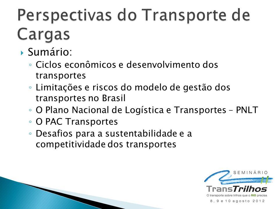  Sumário: ◦ Ciclos econômicos e desenvolvimento dos transportes ◦ Limitações e riscos do modelo de gestão dos transportes no Brasil ◦ O Plano Naciona