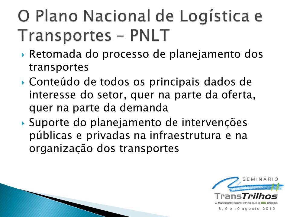  Retomada do processo de planejamento dos transportes  Conteúdo de todos os principais dados de interesse do setor, quer na parte da oferta, quer na