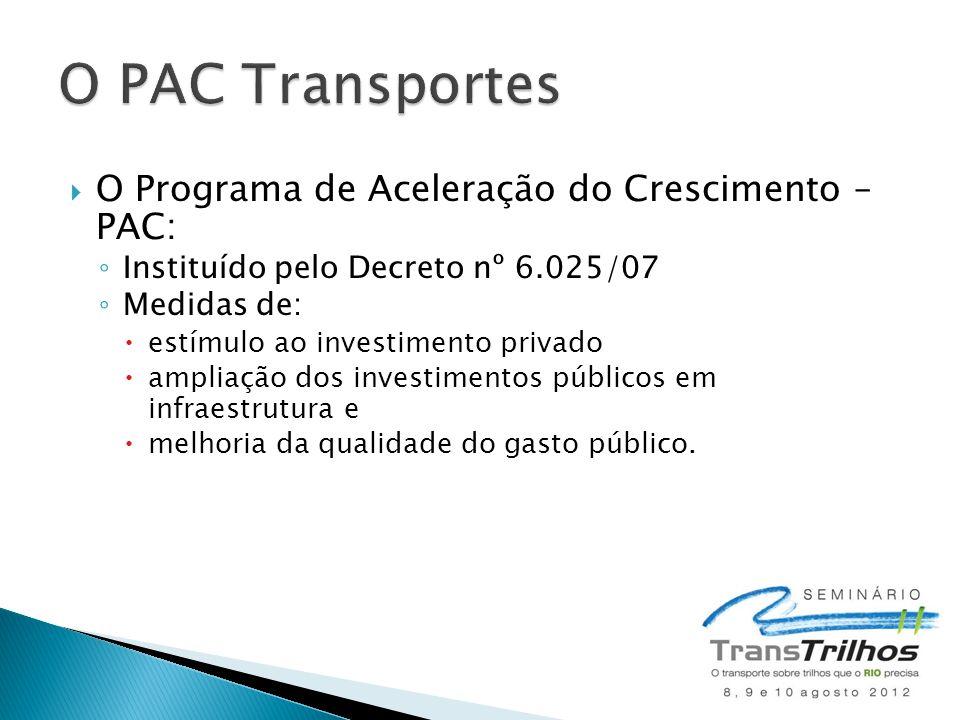  O Programa de Aceleração do Crescimento – PAC: ◦ Instituído pelo Decreto nº 6.025/07 ◦ Medidas de:  estímulo ao investimento privado  ampliação do