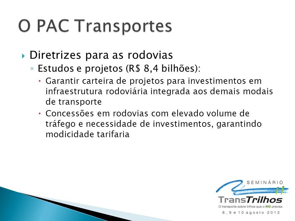  Diretrizes para as rodovias ◦ Estudos e projetos (R$ 8,4 bilhões):  Garantir carteira de projetos para investimentos em infraestrutura rodoviária i