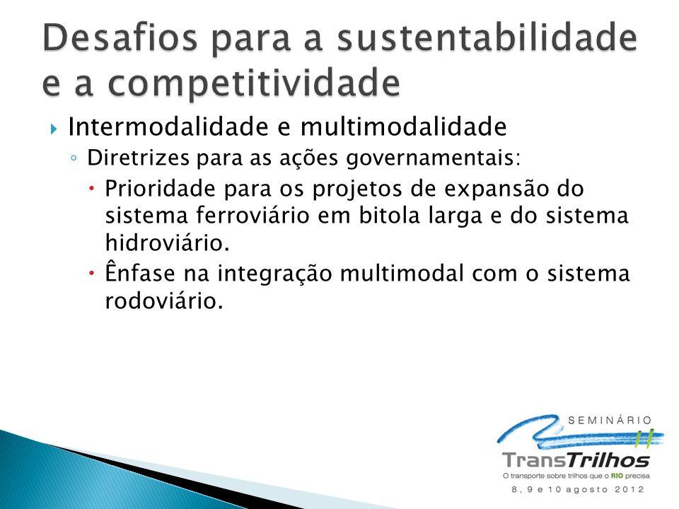  Intermodalidade e multimodalidade ◦ Diretrizes para as ações governamentais:  Prioridade para os projetos de expansão do sistema ferroviário em bit