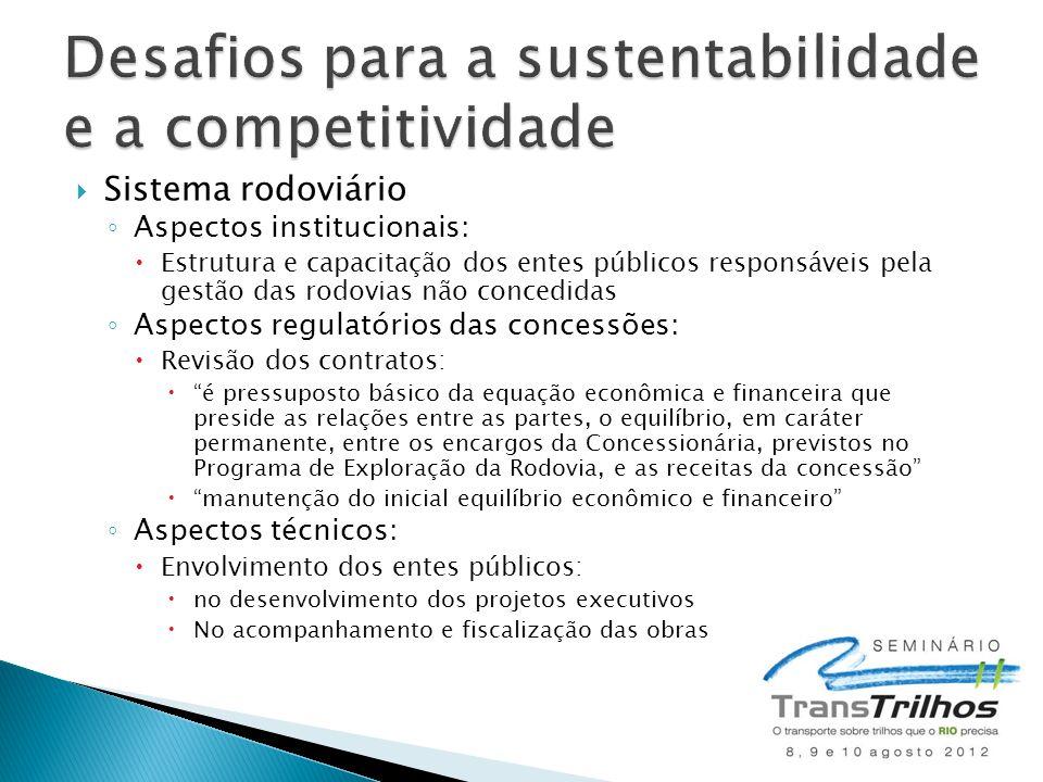  Sistema rodoviário ◦ Aspectos institucionais:  Estrutura e capacitação dos entes públicos responsáveis pela gestão das rodovias não concedidas ◦ As