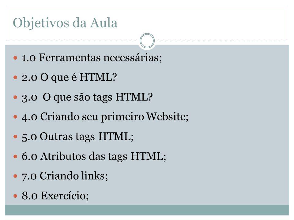 Objetivos da Aula  1.0 Ferramentas necessárias;  2.0 O que é HTML?  3.0 O que são tags HTML?  4.0 Criando seu primeiro Website;  5.0 Outras tags