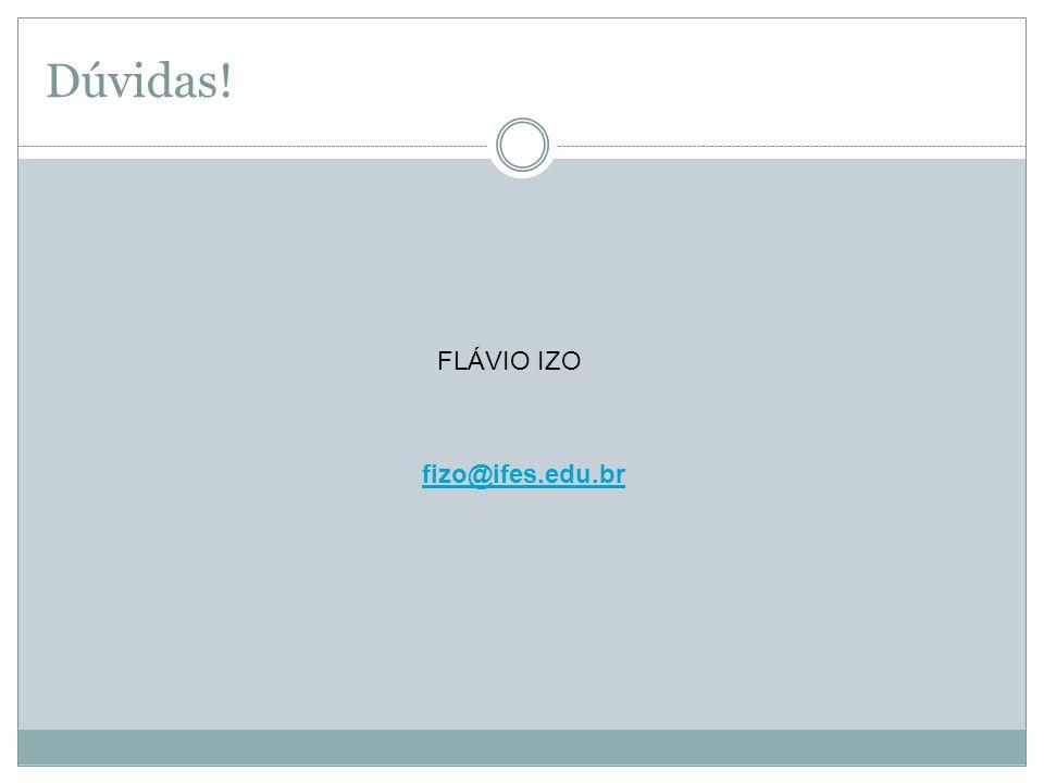 Dúvidas! fizo@ifes.edu.br FLÁVIO IZO