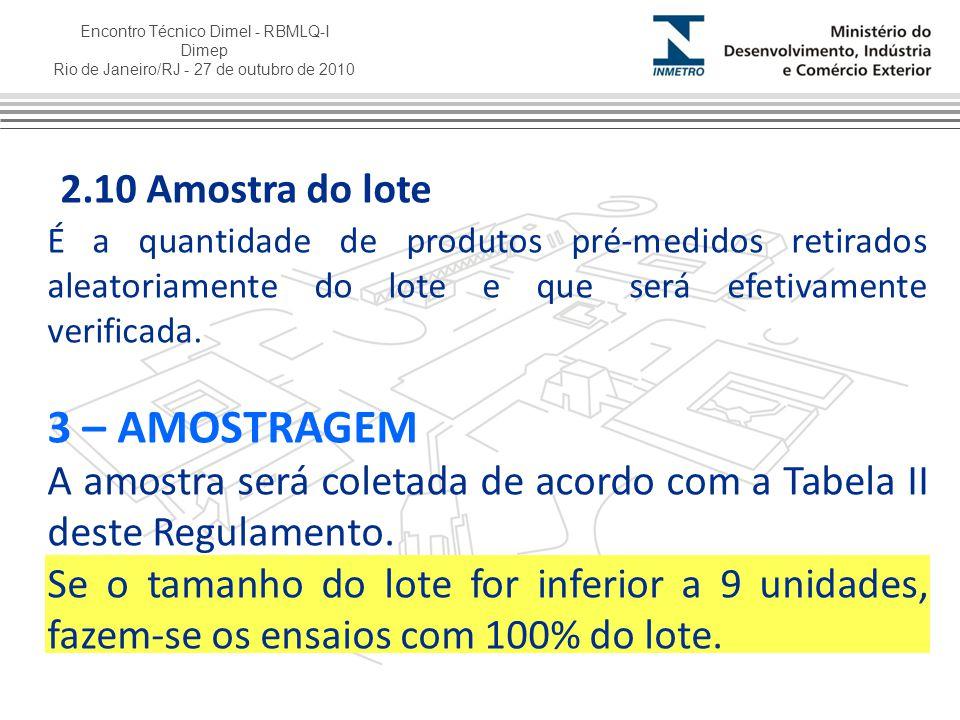 Encontro Técnico Dimel - RBMLQ-I Dimep Rio de Janeiro/RJ - 27 de outubro de 2010 2.10 Amostra do lote É a quantidade de produtos pré-medidos retirados