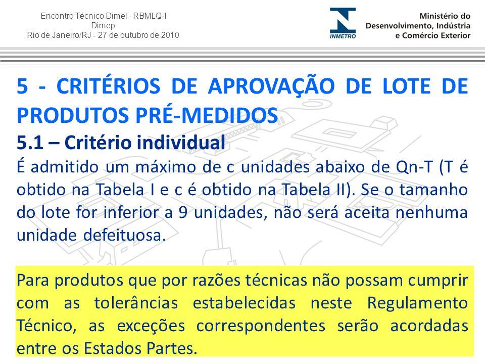 Encontro Técnico Dimel - RBMLQ-I Dimep Rio de Janeiro/RJ - 27 de outubro de 2010 5 - CRITÉRIOS DE APROVAÇÃO DE LOTE DE PRODUTOS PRÉ-MEDIDOS 5.1 – Crit