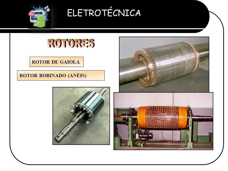 ELETROTÉCNICA Professor Etevaldo Costa ROTOR DE GAIOLA ROTOR BOBINADO (ANÉIS)