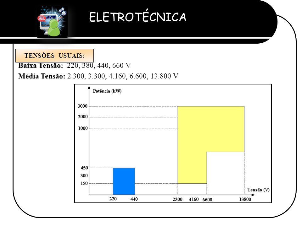 ELETROTÉCNICA Professor Etevaldo Costa TENSÕES USUAIS: Baixa Tensão: Baixa Tensão: 220, 380, 440, 660 V Média Tensão: Média Tensão: 2.300, 3.300, 4.16