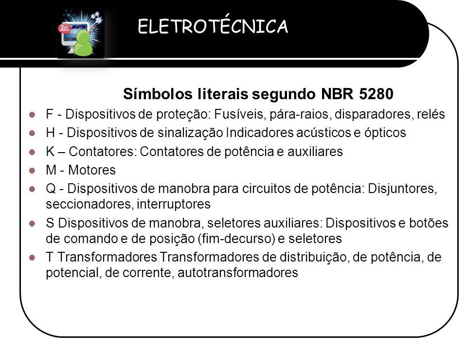 ELETROTÉCNICA Professor Etevaldo Costa Símbolos literais segundo NBR 5280  F - Dispositivos de proteção: Fusíveis, pára-raios, disparadores, relés 