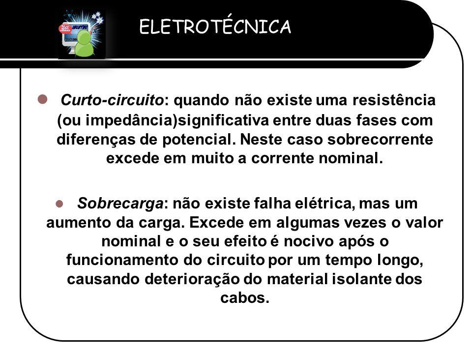 ELETROTÉCNICA Professor Etevaldo Costa  Curto-circuito: quando não existe uma resistência (ou impedância)significativa entre duas fases com diferença