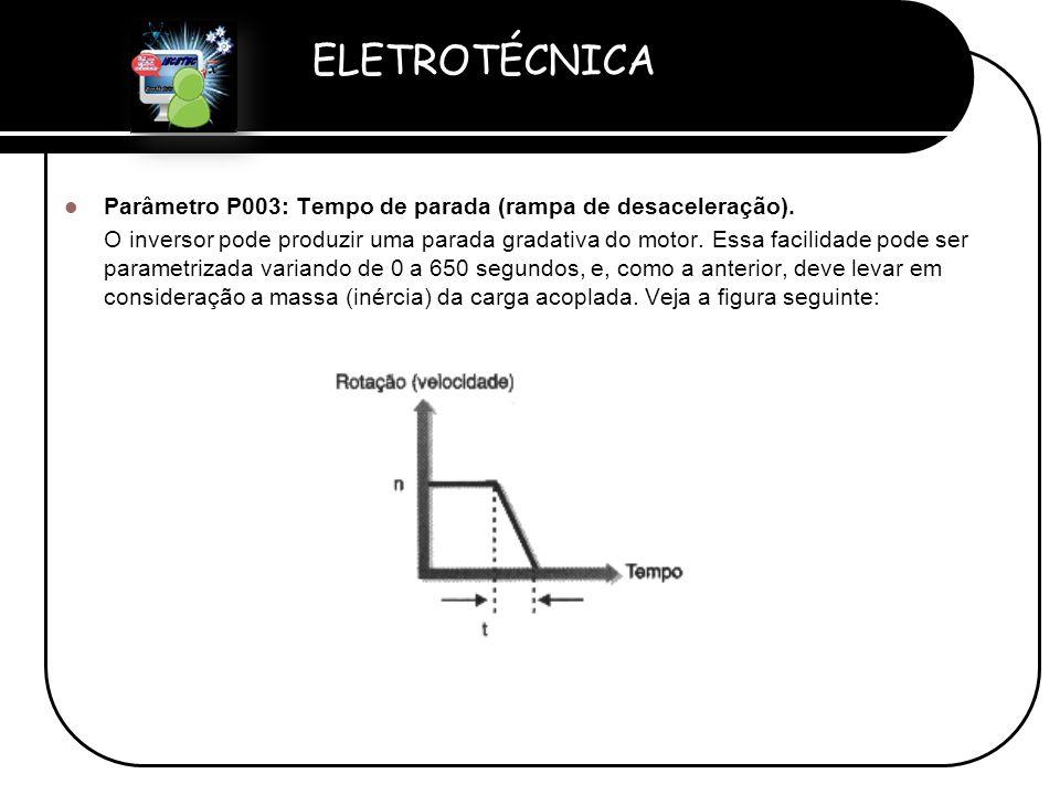 ELETROTÉCNICA Professor Etevaldo Costa  Parâmetro P003: Tempo de parada (rampa de desaceleração). O inversor pode produzir uma parada gradativa do mo