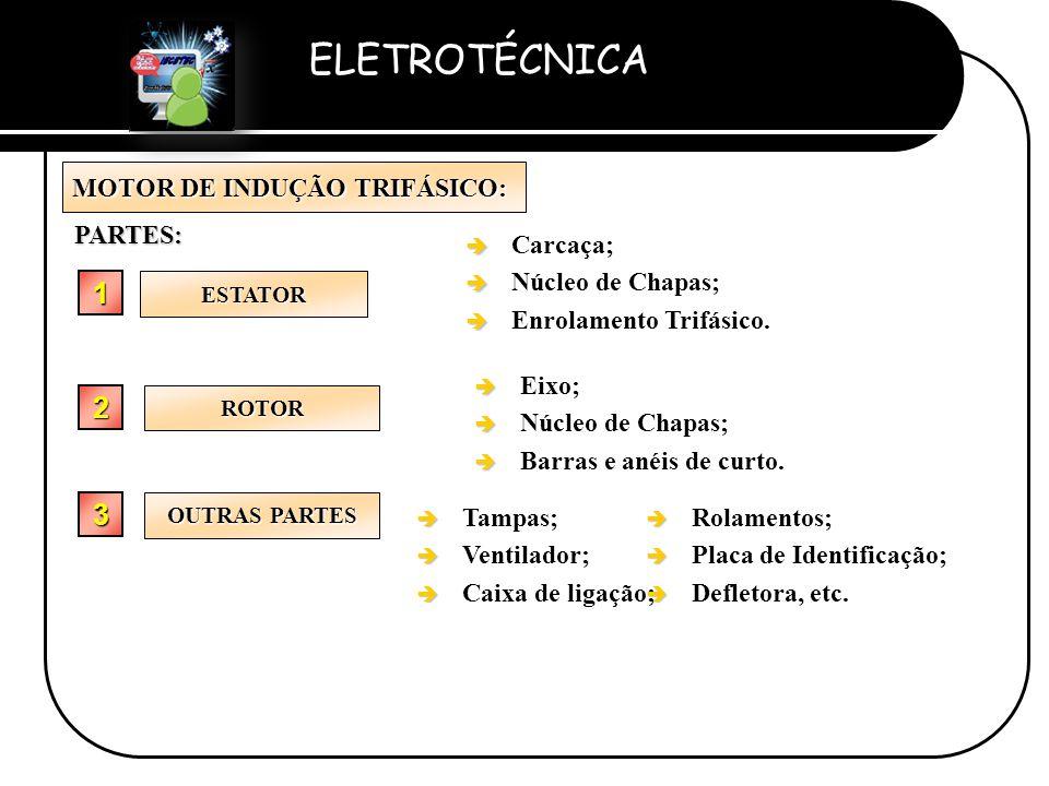ELETROTÉCNICA Professor Etevaldo Costa MOTOR DE INDUÇÃO TRIFÁSICO: ESTATOR 1111PARTES: è è Carcaça; è è Núcleo de Chapas; è è Enrolamento Trifásico. 2