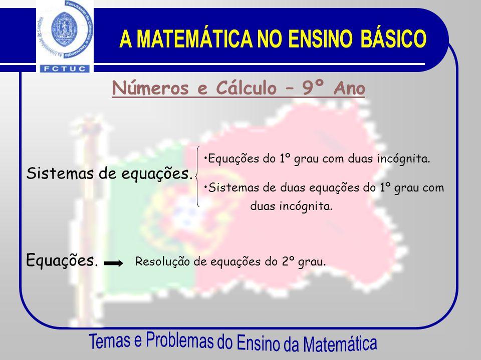 Números e Cálculo – 8º Ano Ainda os números. Equações. •E•Equações do 1º grau. •E•Equações de grau superior ao 1º. •S•Sequências de números. •m•m.d.c.