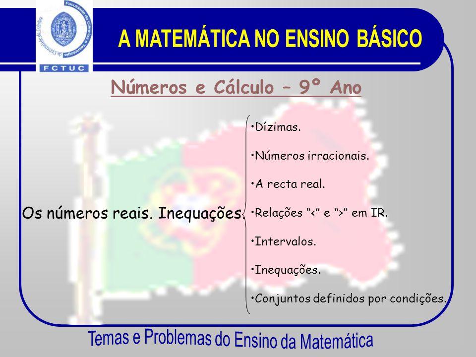 Números e Cálculo – 9º Ano Sistemas de equações. Equações. Resolução de equações do 2º grau. •E•Equações do 1º grau com duas incógnita. •S•Sistemas de