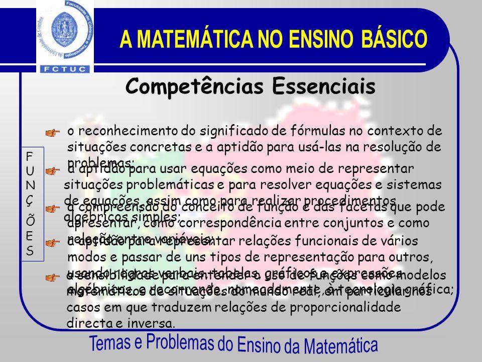 Competências Essenciais NÚMEROSECÁLCULONÚMEROSECÁLCULO o reconhecimento dos conjuntos dos números inteiros, racionais e reais, das diferentes formas d
