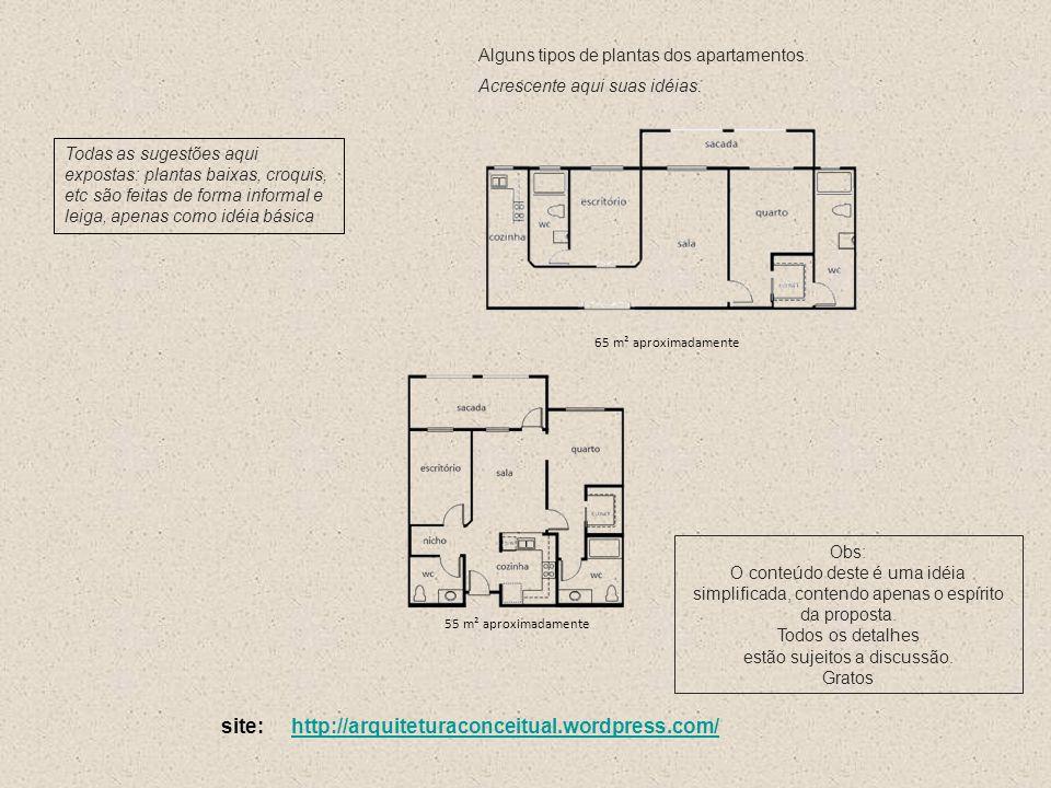 Alguns tipos de plantas dos apartamentos. Acrescente aqui suas idéias.